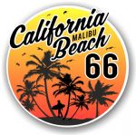 California Malibu Beach 1966 Surfer Surfing Design Vinyl Car Sticker Decal  95x95mm